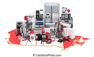 Map of Canada with home and kitchen appliances, 3D rendering