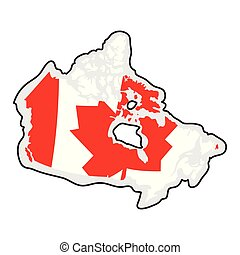 Map of Canada with its flag