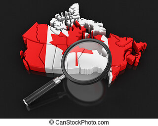 Map of Canada with loupe. Image with clipping path.