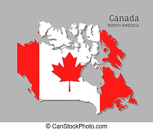 Map of Canada with national flag