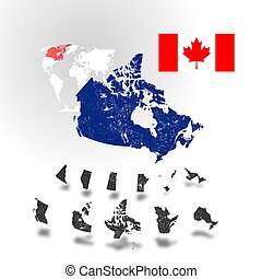 Map of Canada with rivers and lakes.