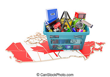 Map of Canada with shopping basket full of home and kitchen appliances, 3D rendering