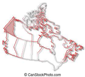 Map of Canada, Yukon highlighted
