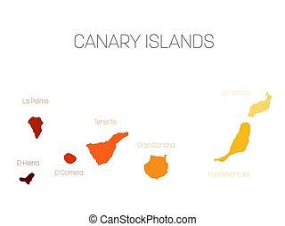 Map of Canary Islands, Spain, with labels of each island - El Hierro, La Palma, La Gomera, Tenerife, Gran Canaria, Fuerteventura and Lanzarote. Vector silhouette on white background