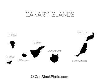 Map of Canary Islands, Spain, with labels of each island - El Hierro, La Palma, La Gomera, Tenerife, Gran Canaria, Fuerteventura and Lanzarote. Black vector silhouette on white background