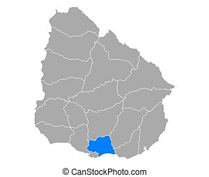 Map of Canelones in Uruguay