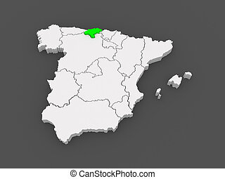 Region of cantabria Cantabria region on administration map stock