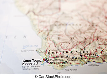 Map of Cape Town in South Africa