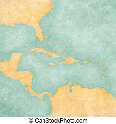 Map of Caribbean - Blank Map (Vintage Series) - Blank map of...