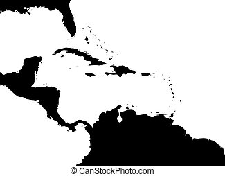 Map of Caribbean region and Central America. Black land silhouette and white water. Simple flat vector illustration