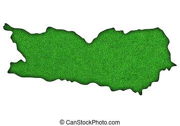 Map of Carinthia on green felt