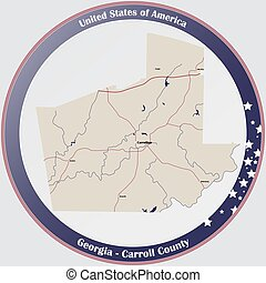 Map of Carroll County in Georgia - Large and detailed map of...