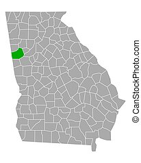 Map of Carroll in Georgia