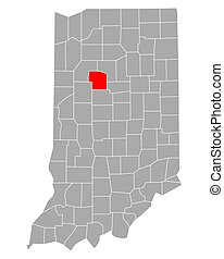 Map of Carroll in Indiana