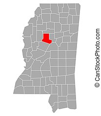 Map of Carroll in Mississippi