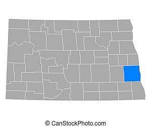 Map of Cass in North Dakota