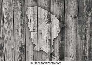 Map of Ceara on weathered wood