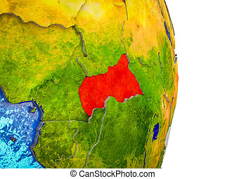 Map of Central Africa on 3D Earth