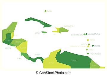 Map of Central America and Caribbean. Simlified schematic vector map in shades of green