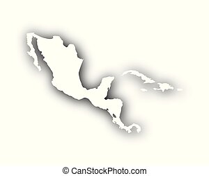 Map of Central America and the Carrbean with shadow