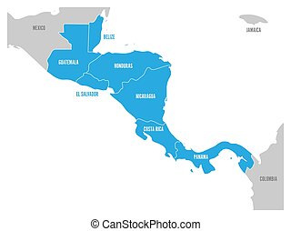 Map of Central America region with blue highlighted central american states. Country name labels. Simple flat vector illustration