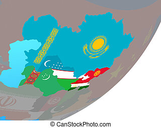 Map of Central Asia with flag on globe