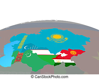 Map of Central Asia with flags on globe