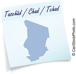 Map of Chad as sticky note