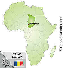 Map of Chad with main cities in green