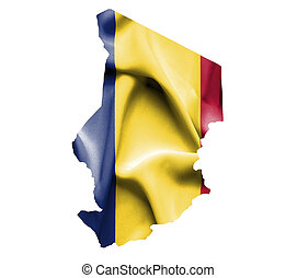 Map of Chad with waving flag isolated on white