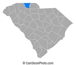 Map of Cherokee in South Carolina