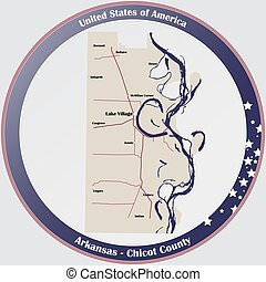 Map of Chicot County in Arkansas - Round button with ...