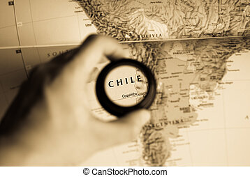 Selective focus on antique map of Chile