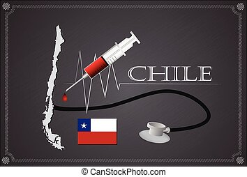 Map of Chile with Stethoscope and syringe.