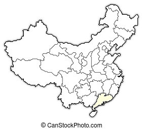 Map of China, Guangdong highlighted