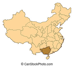 Map of China, Guangxi highlighted