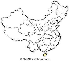 Map of China, Hainan highlighted - Political map of China...