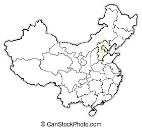 Map of China, Hebei highlighted