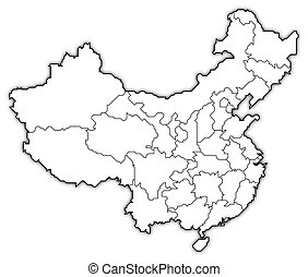 Political map of China with the several provinces where Hong Kong is highlighted.
