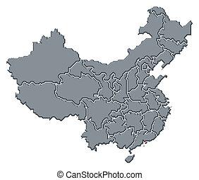 Map of China, Hong Kong highlighted