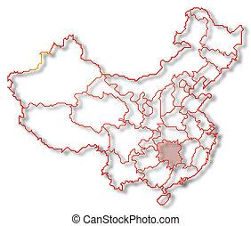 Map of China, Hunan highlighted