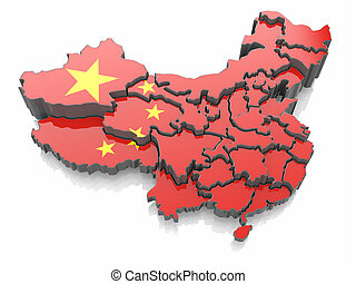 Map of China in national flag colors
