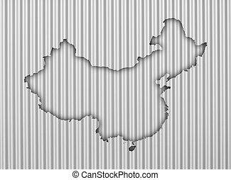 Map of China on corrugated iron