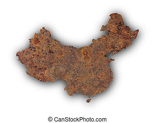 Map of China on rusty metal