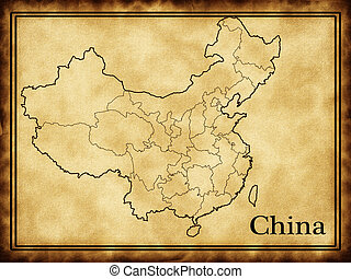 Map of China on the old background