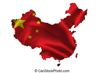 Map of China with national flag on fabric surface.