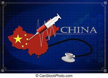 Map of China with Stethoscope and syringe.