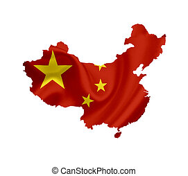 Map of China with waving flag isolated on white