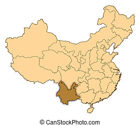 Map of China, Yunnan highlighted