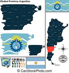 Map of Chubut Province, Argentina